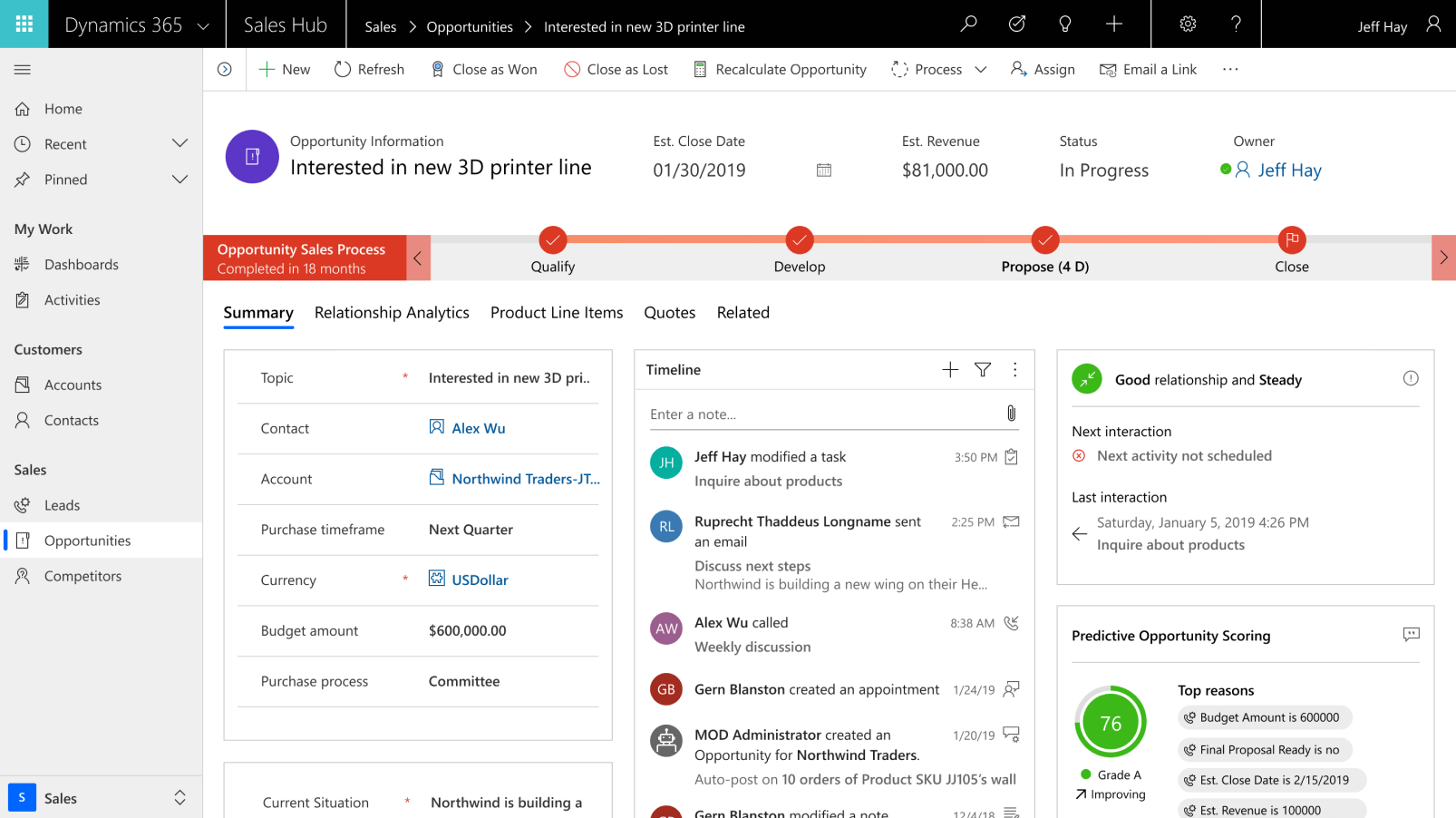 Dynamics 365 for Sales Screenshot 2019/11